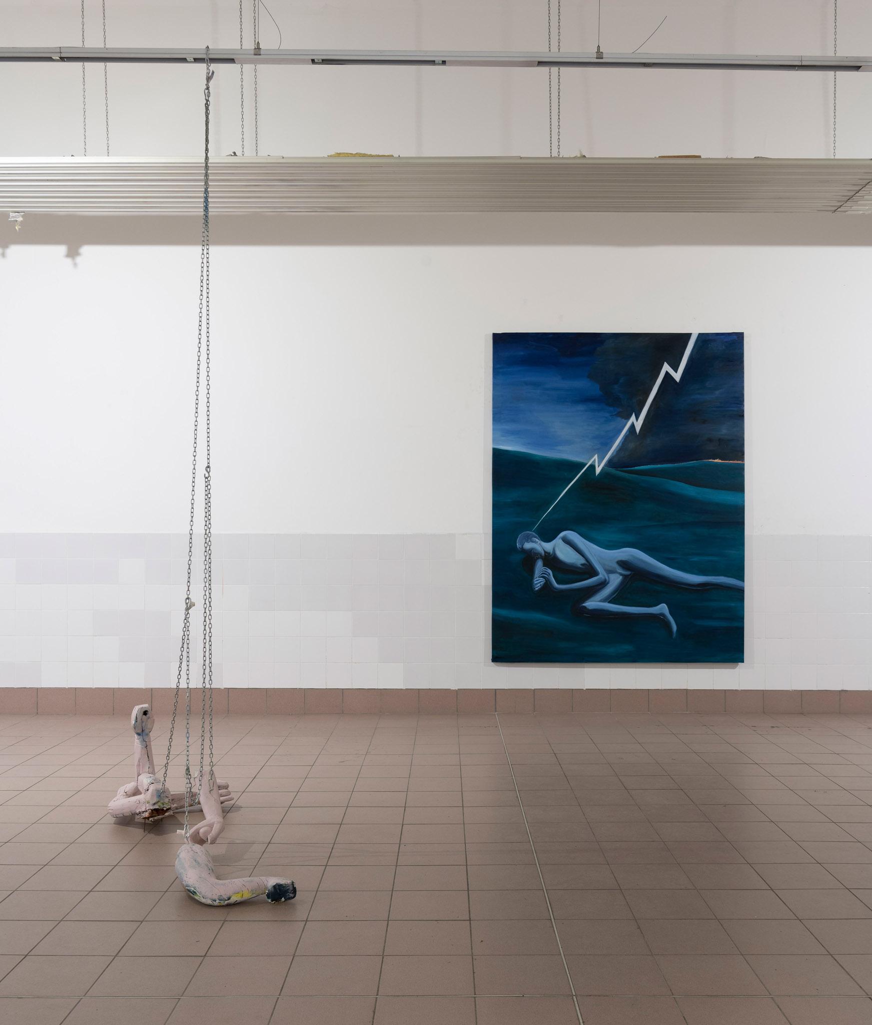 Spaziomensa, Vista dell'installazione sx Sebastiano Bottaro dx Dario Carratta. courtesy artisti e Spaziomensa, photo credit: Giorgio Benni