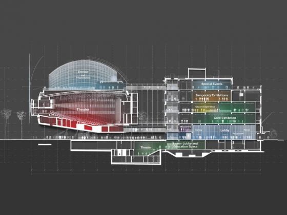 Academy Museum of Motion Pictures, Cross section © Renzo Piano Building Workshop © Academy Museum Foundation