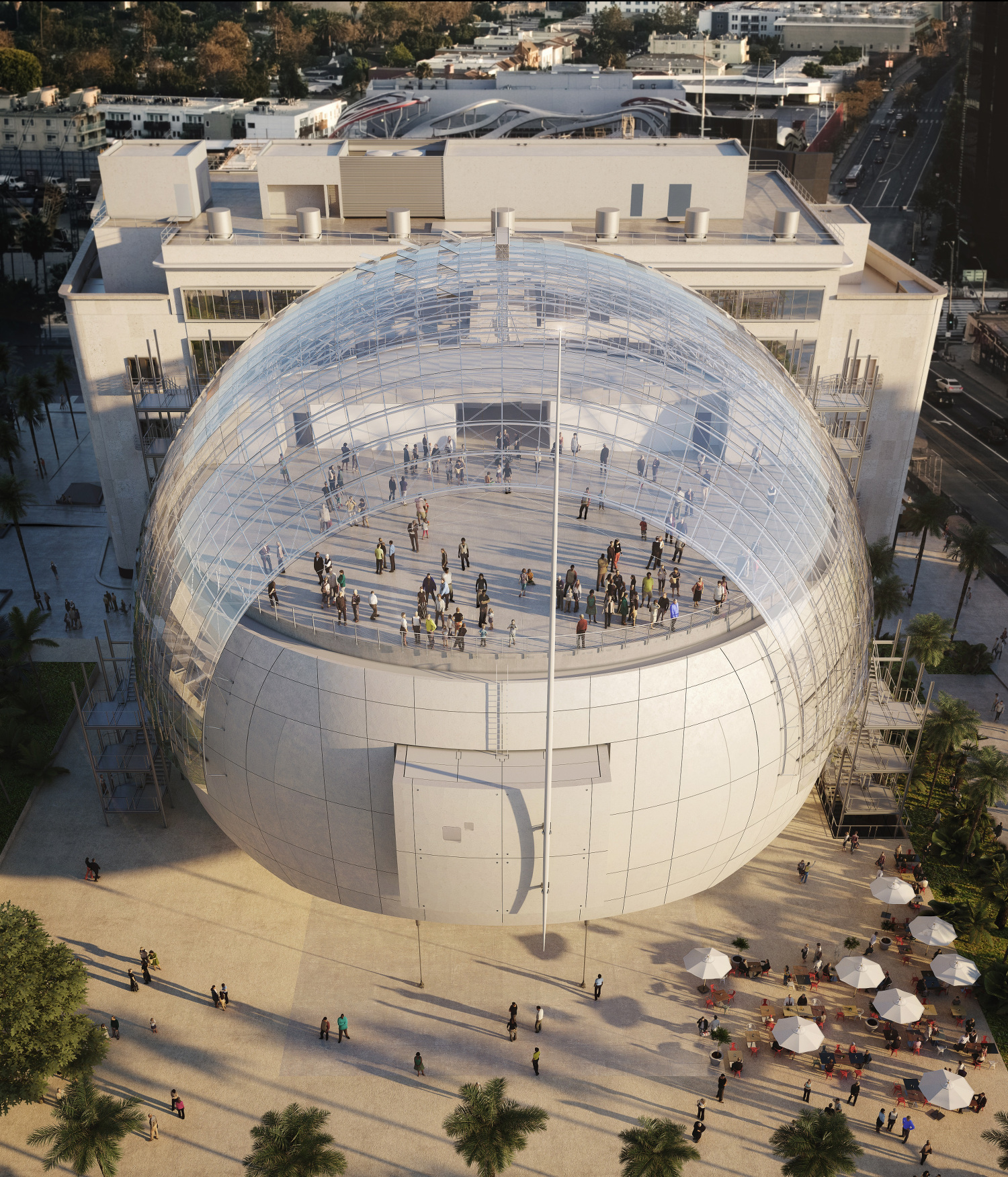 Academy Museum of Motion Pictures, Exterior Rendering © Renzo Piano Building Workshop © Academy Museum Foundation. Image from L'Autre Image
