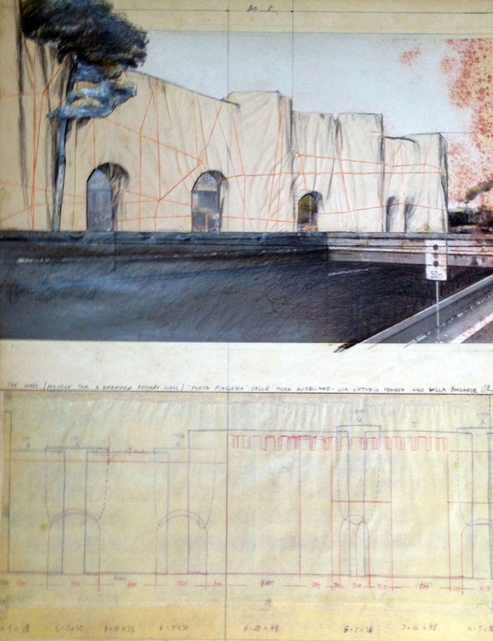 Christo, The Wall (Project for a Wrapped Roman Wall) Porta Pinciana, 1974, tecnica mista su cartone, 71x56 cm. Collezione Gori Fattoria di Celle, Pistoia