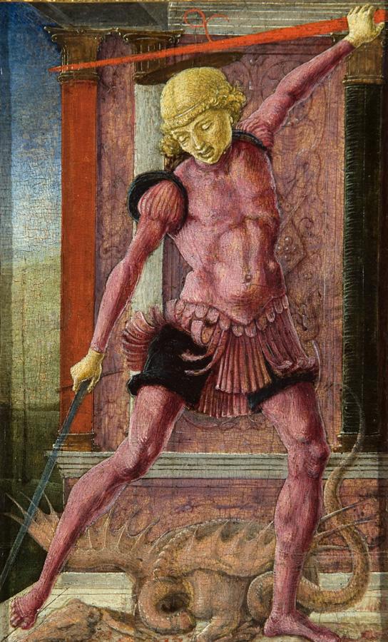 Cosmè Tura, San Giorgio, circa 1475-1480, tempera su tavola, 21,6x13 cm, Palazzo Cini a San Vio, Venezia, Fondazione Giorgio Cini © Fondazione Giorgio Cini
