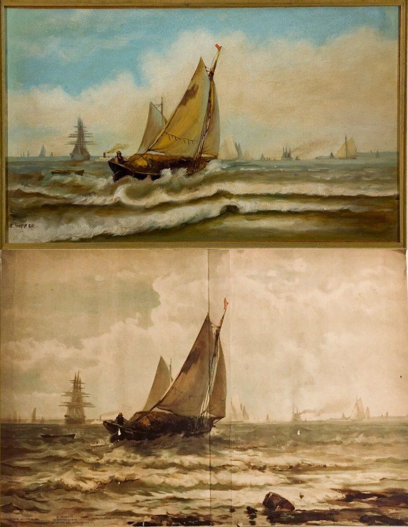 Edward Hopper, Ships, 1898 circa. (Sopra) Edward Moran, A Marine. (Sotto) Hopper ha duplicato il dipinto di Moran, pubblicato nell'edizione del 1886 del magazine Art Interchange magazine. Cortesia di Josephine N. Hopper