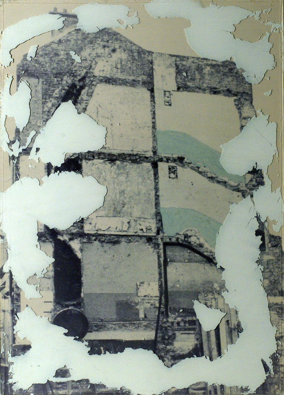 Franco Guerzoni, Affreschi, 1973, scagliola su lastra di vetro su stampa cromogenica, cm 69x49