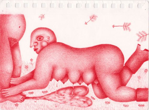 Maria Fragoso Fluidos de amor, 2 020 Colored pencil on paper 8 1/2 x 5 1/2 in. (22 x 14 cm) Courtesy of the artist and 1969 Gallery
