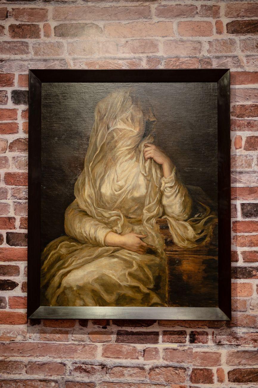 Markus Schinwald, Angela, 2014, olio su tela. © Fondazione Coppola