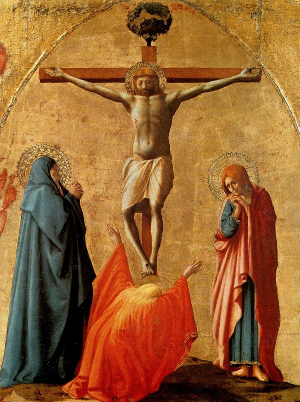 Masaccio, Crocifissione, 1426, tavola, 83x63 cm. Museo nazionale di Capodimonte, Napoli