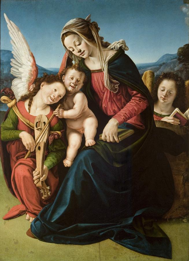 Piero di Cosimo, Madonna con bambino e due angeli, circa 1505–1510, olio su tavola, 163 x 133 cm. Palazzo Cini a San Vio, Venezia, Fondazione Giorgio Cini© Fondazione Giorgio Cini
