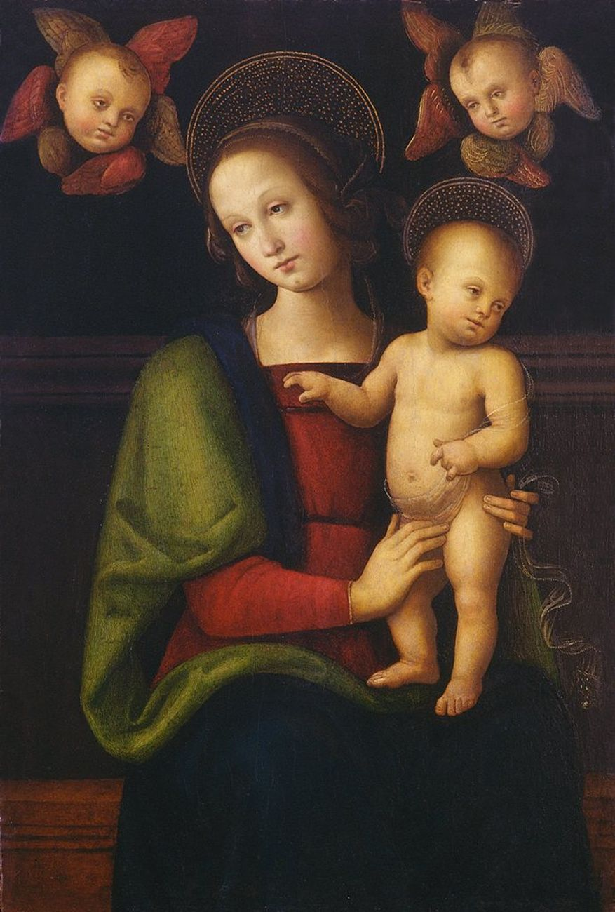 Pietro Vannucci detto il Perugino, Madonna col Bambino e due cherubini, 1490 ca. Perugia, Fondazione Cassa di Risparmio