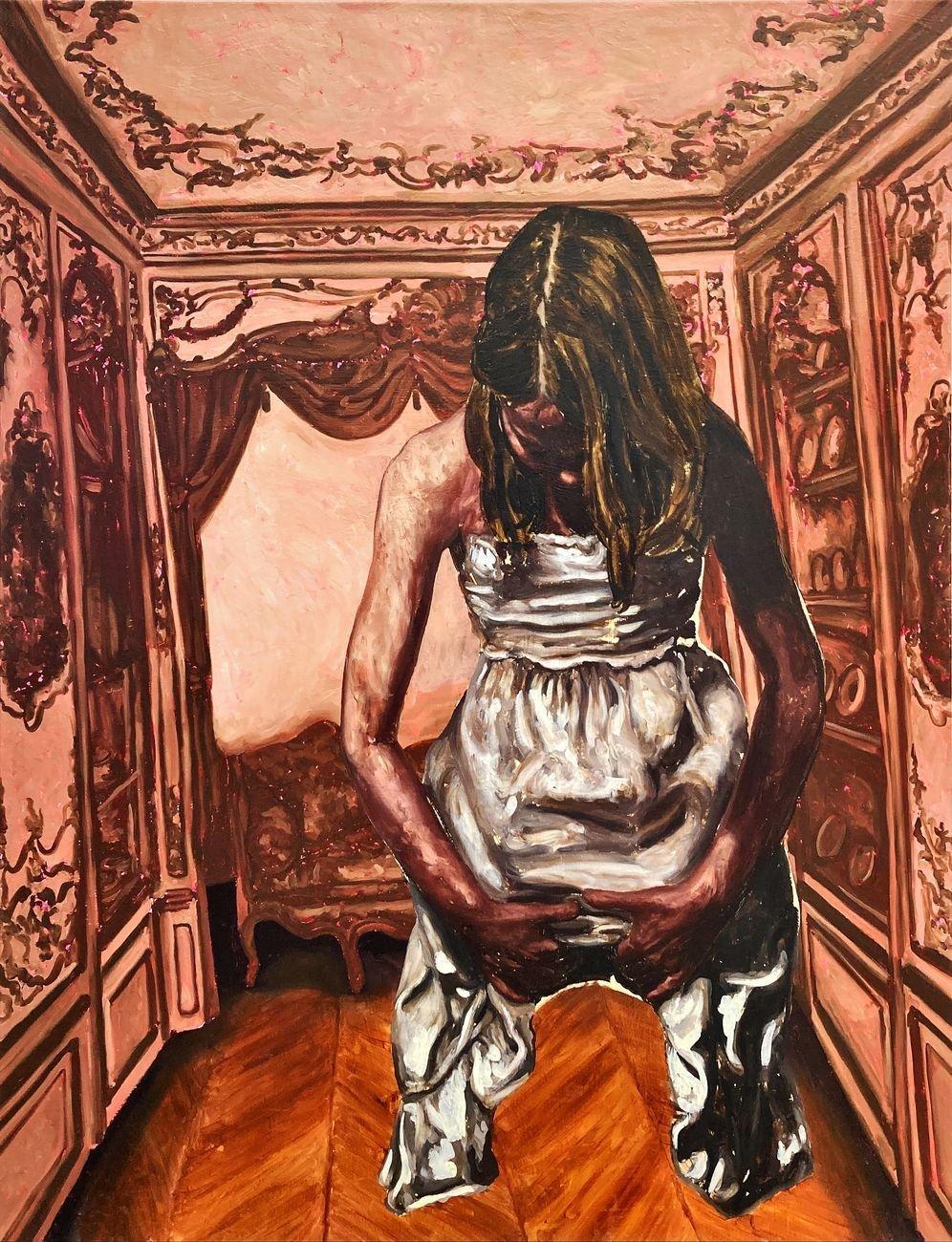 Ryan Mendoza, Untitled, 2019, olio su lino, cm 188x144