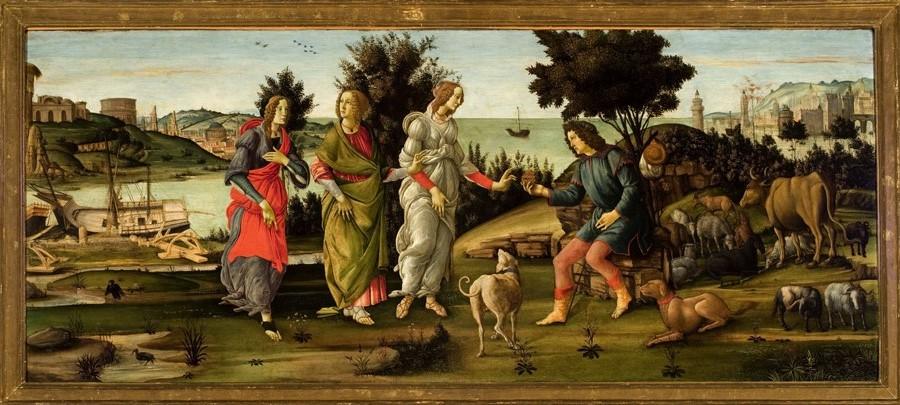 Sandro Botticelli e bottega, Il giudizio di Paride, circa 1485, tempera su tavola, 81,5 × 196,5 cm. Venezia, Fondazione Giorgio Cini © Fondazione Giorgio Cini