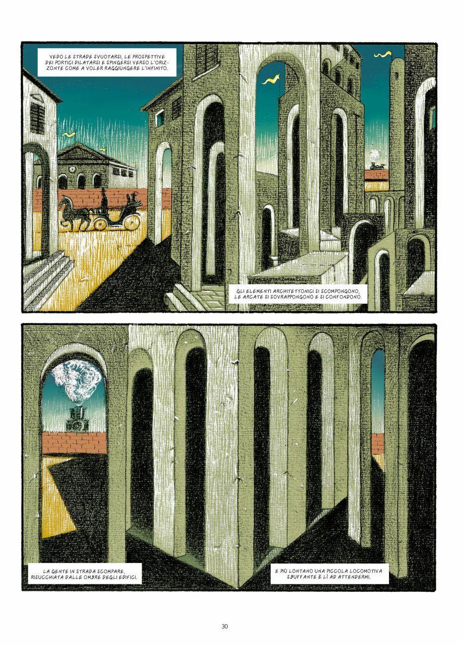Sebastiano Vilella – De Chirico. Interno metafisico con biscotti (Oblomov Edizioni, Quartu Sant'Elena 2020). Una tavola del libro