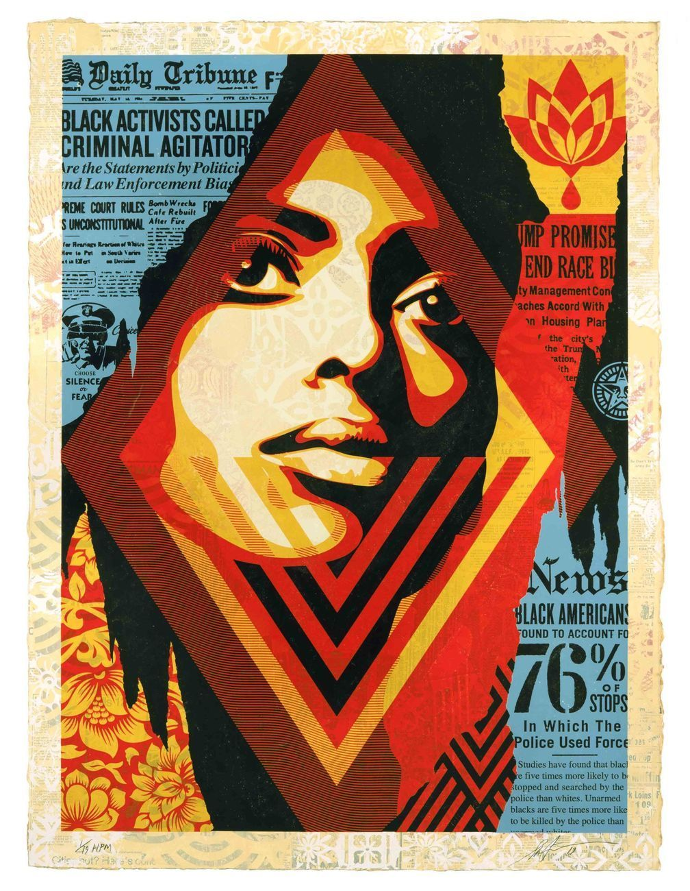 Shepard Fairey, Bias By Numbers, 2019, silkscreen and mixed media collage on paper HPM, cm 76x104