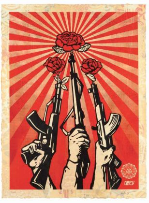 Shepard Fairey, Guns and Roses, 2019, Edition of 19, silkscreen and mixed media collage on paper, HPM, cm 76x104