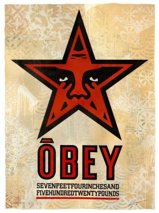Shepard Fairey, Obey Star, 2019, silkscreen and mixed media collage on paper HPM, cm 76x104