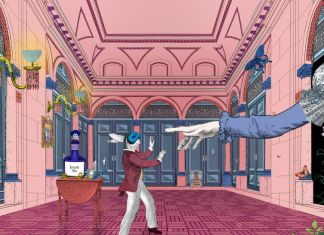 Still from Curious Alice, a VR experience created by the V&A and HTC Vive Arts. Featuring original artwork by Kristjana S Williams, 2020