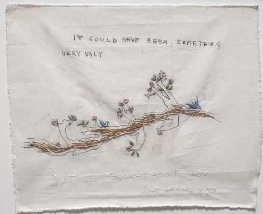 Tracey Emin, It could have been Something, 2001, china, grafite, ricamo su calico