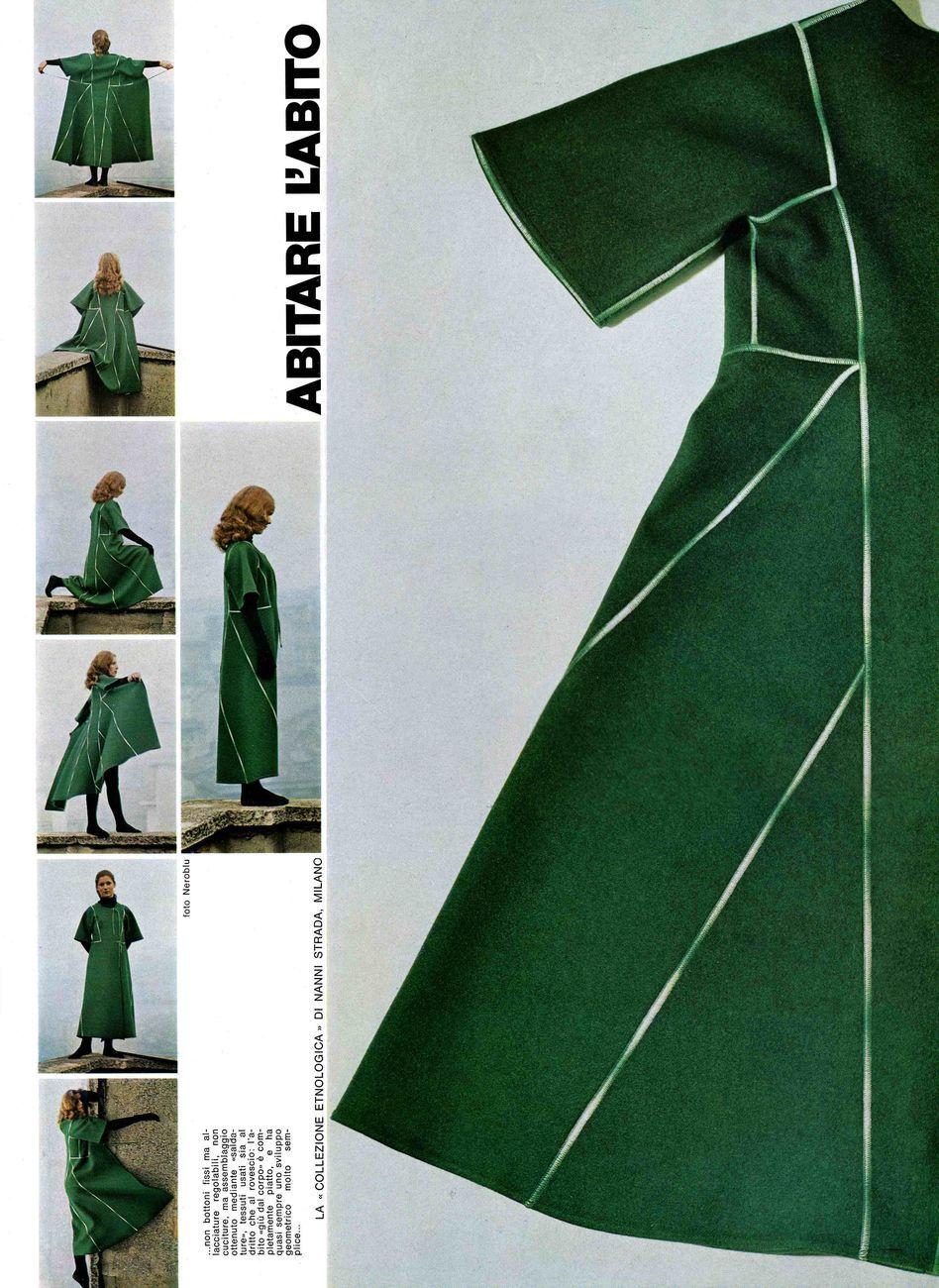 Una pagina dell'articolo di Domus sulla Collezione inverno 1971 72 progettata nel 1970 e prodotta da Sportmax © Nanni Strada Design Studio