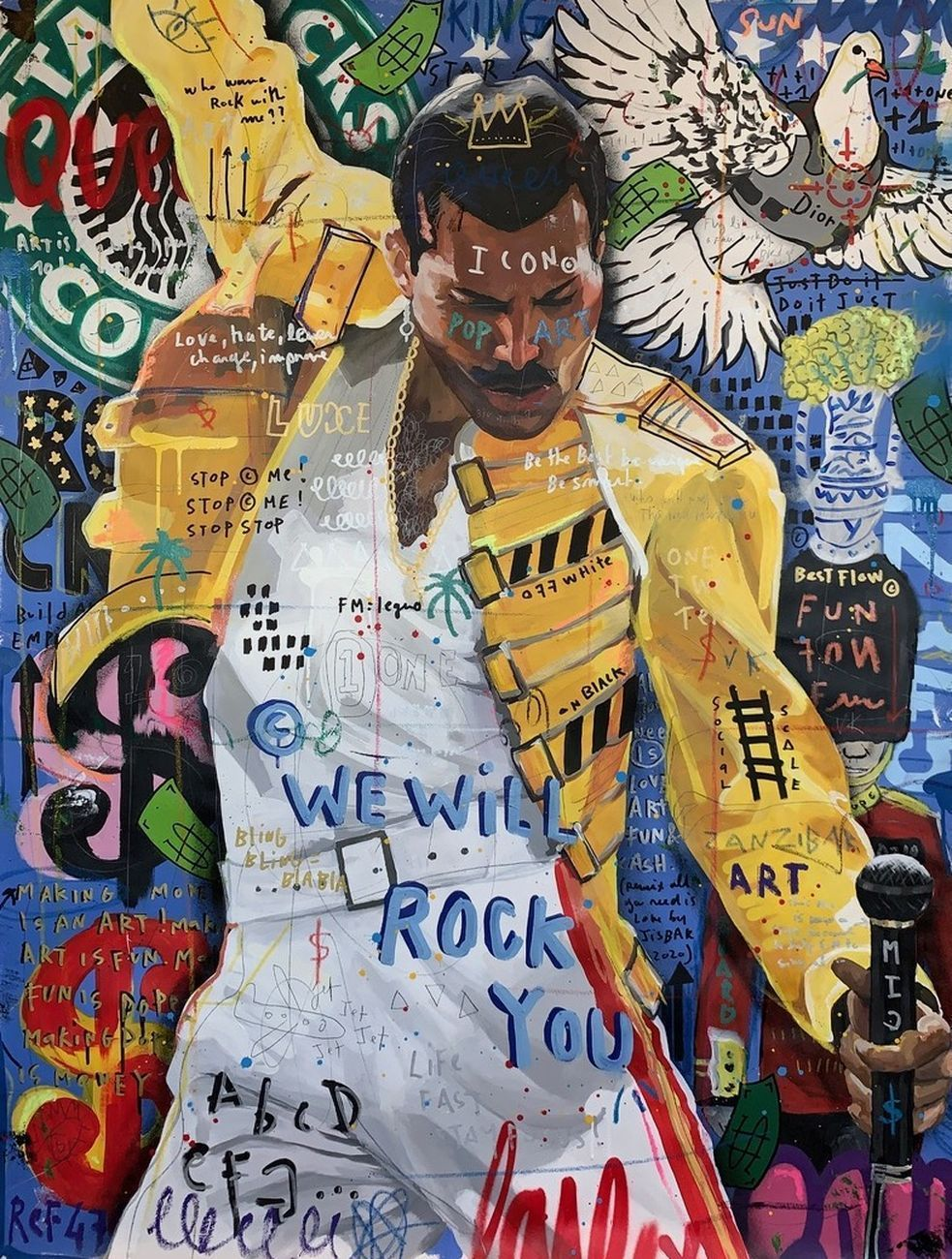 We will rock you, 2020, mixed media on canvas, 97x130cm