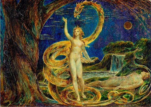 William Blake, Eve Tempted by the Serpent, 1799 1800. Victoria and Albert, Londra