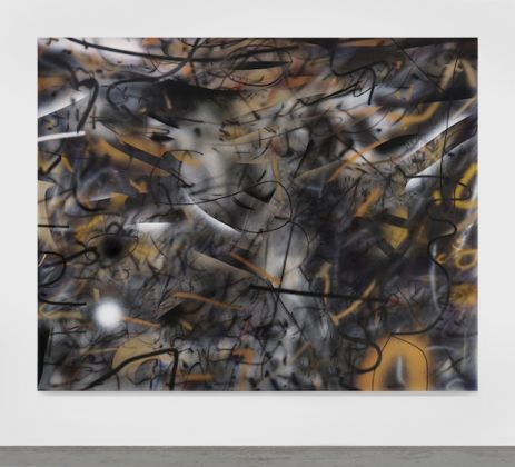 Julie Mehretu, See Gold, Cry Black, 2019, ink and acrylic on canvas, 96 x 120 in. (artwork © Julie Mehretu; photograph by Cathy Carver)