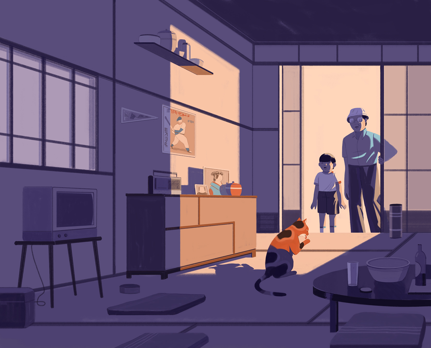 """Le illustrazioni di Emiliano Ponzi per il romanzo di Haruki Murakami """"Abbandonare un gatto"""""""