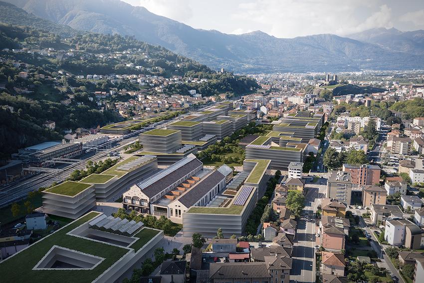 Bellinzona, veduta aerea - Render credits: Città di Bellinzona