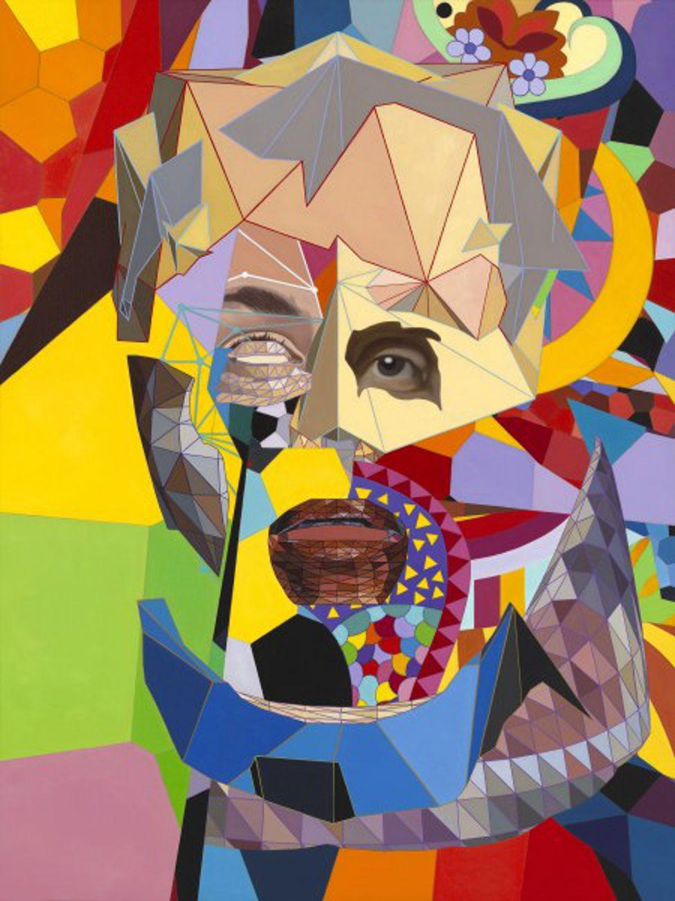 Ben Edwards, Bot in Love, 2020, olio su tela, 122.4 x 91.5 cm. Photo Old Town Editions in Alexandria, Virginia. Courtesy Mucciaccia Contemporary, Roma