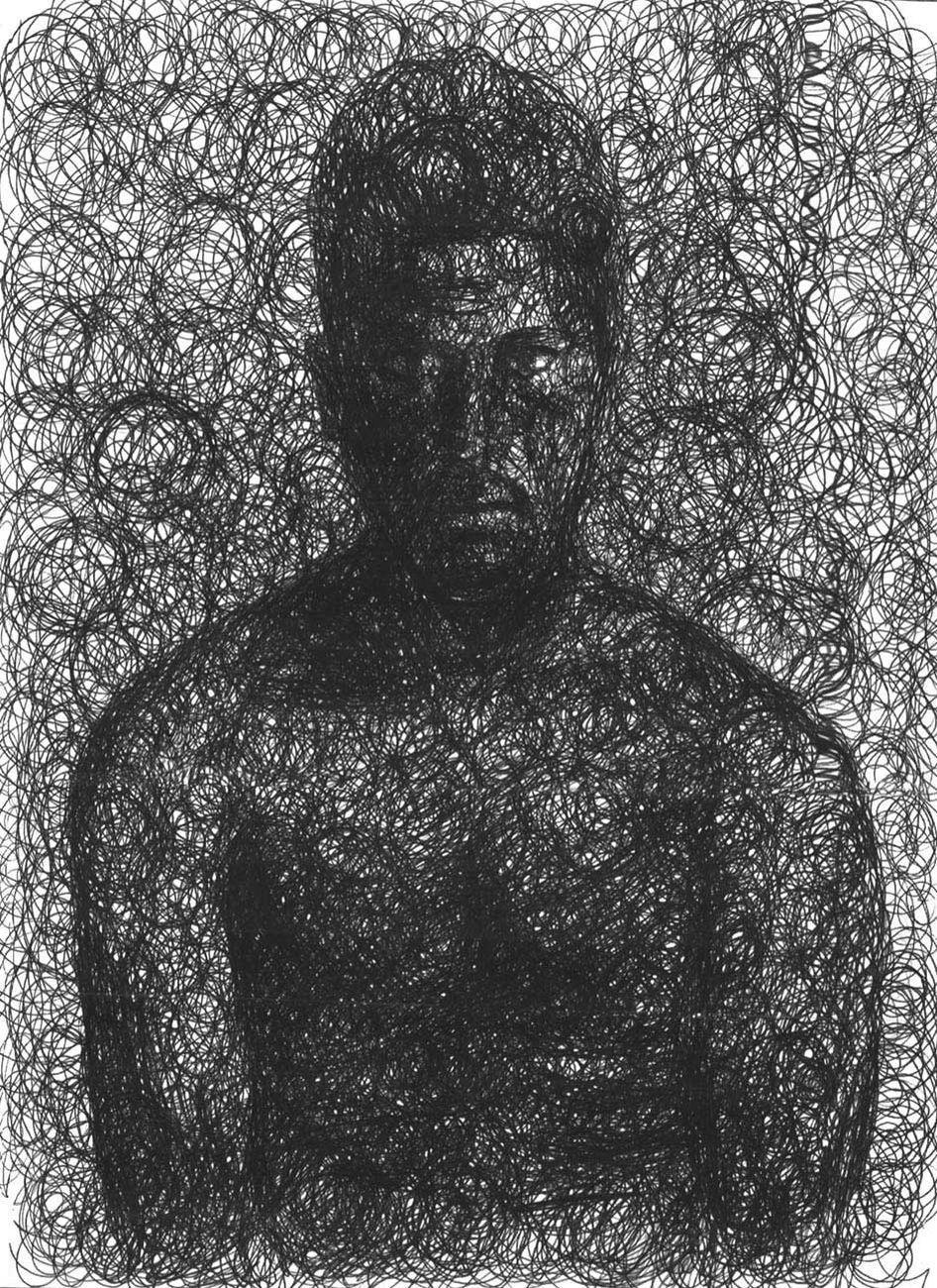 Francesco Cuna, Spleen Il morbo e il marmo 2, 2020, penna a sfera (biro) su carta, 24x33 cm