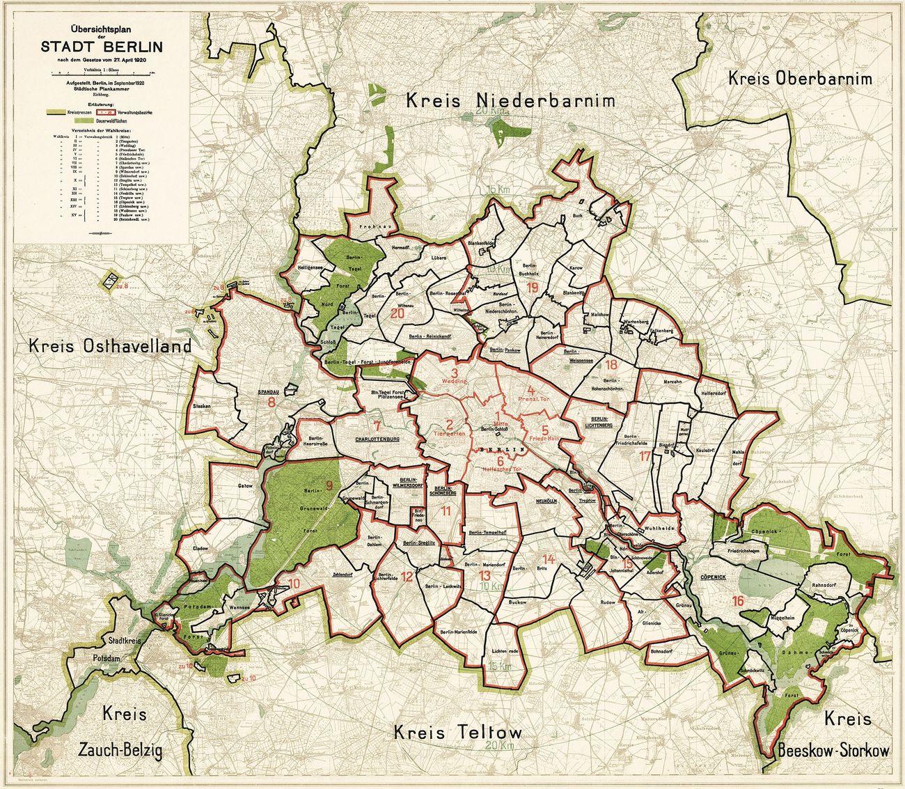 Il piano urbanistico della Grande Berlino, approvato il 27 aprile 1920. Fonte Archivio di Stato, Berlino