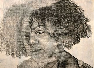 Kenturah Davis, The Bodily Effect of a Color (Lola), 2020, oil paint applied with rubber stamp letters, color monoprint and chine-collie on paper, 56x74 cm, Anna Marra Arte Contemporanea, Roma