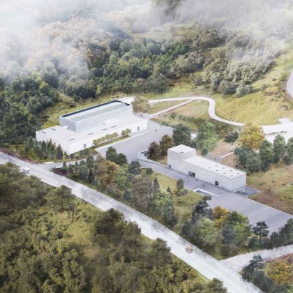 Rendering depicting aerial view of Magazzino Italian Art's campus, including a new freestanding building. Architects Alberto Campo Baeza and Miguel Quismondo. Image by JC Bragado & J Mingorance. Courtesy of Magazzino Italian Art.