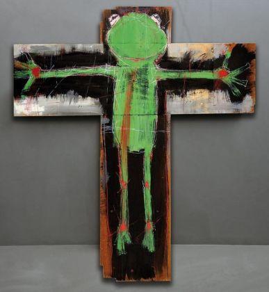 Manuel Cossu, Human Frog, 2019, acrilico su legno, cm 77x85