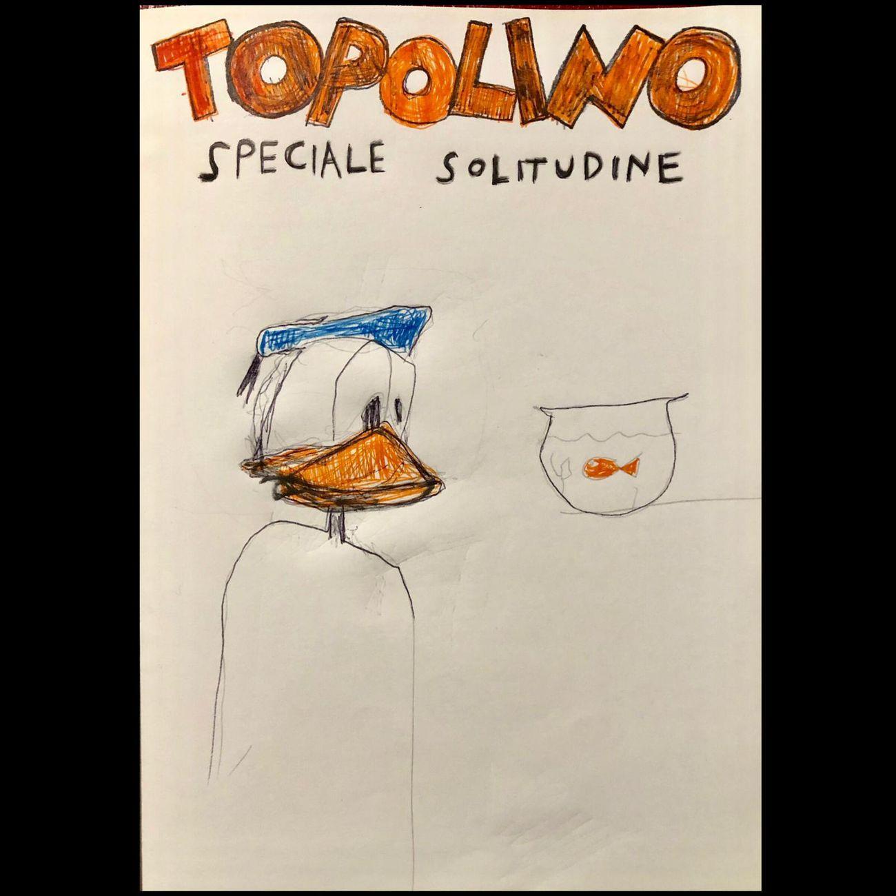 Manuel Cossu, Topolino, speciale Solitudine, 2019, tecnica mista su carta