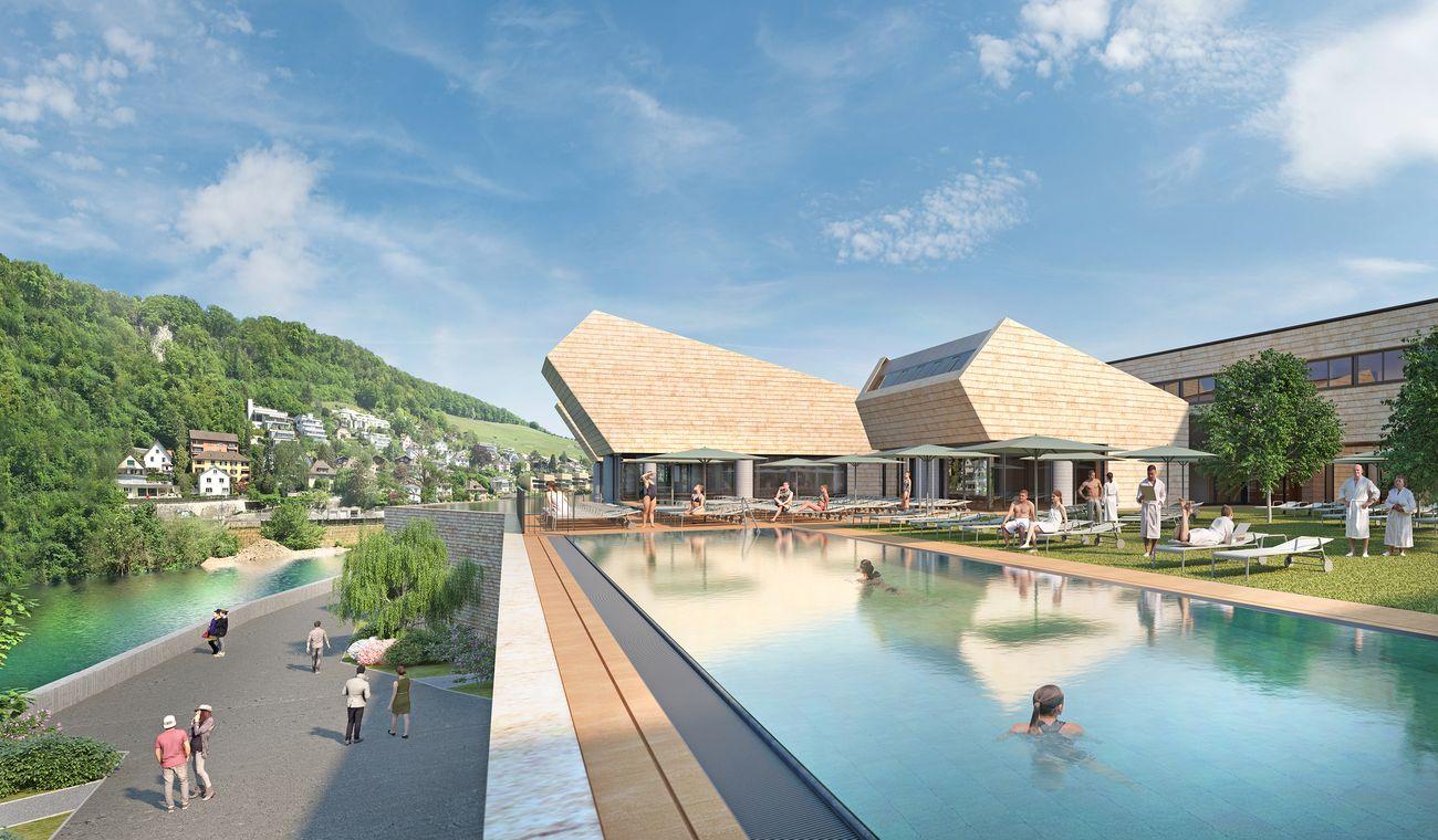 Mario Botta, Terme di Baden, Svizzera, concorso 2009–in costruzione. Render Studio Botta