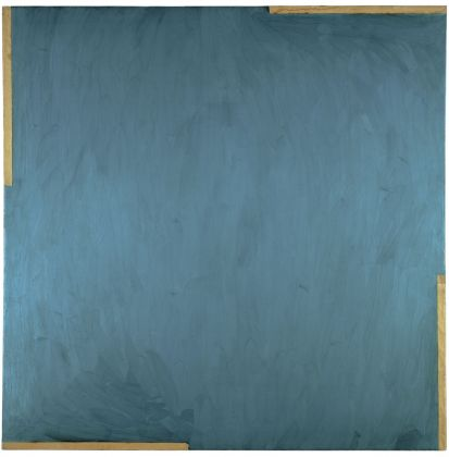Michael Snow, Lac Clair, 1960. Oil, paper, adhesive tape on canvas, 70.0 x 70.0 x 1.2 inches. National Gallery of Canada, Ottawa