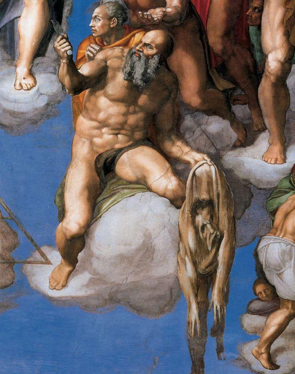 Michelangelo Buonarroti, Giudizio Universale, 1536 41, particolare con San Bartolomeo. Cappella Sistina, Roma