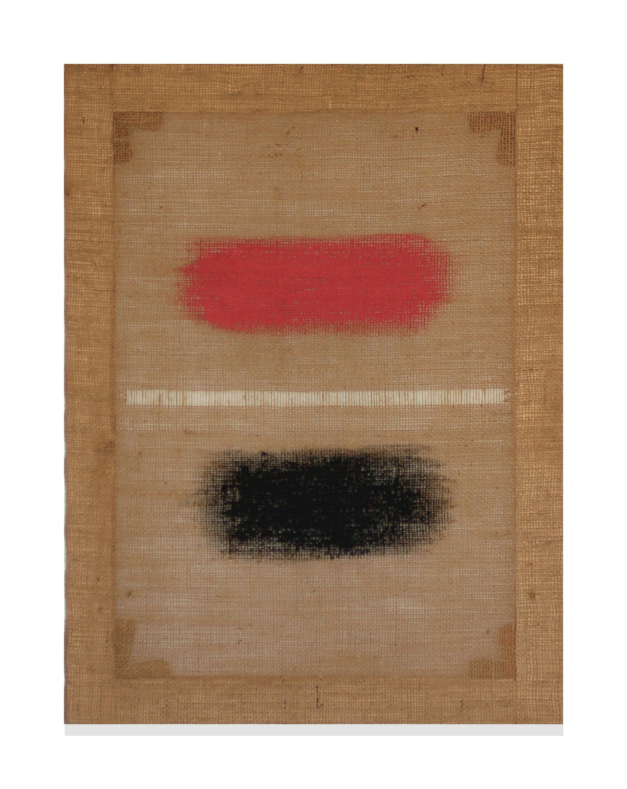 Salvatore Emblema Untitled/Senza titolo 1996 Tinted soil on dethreaded burlaup/Terre colorate su juta detessuta Cm 80 x 60 Courtesy Glenda Cinquegrana Art Consulting