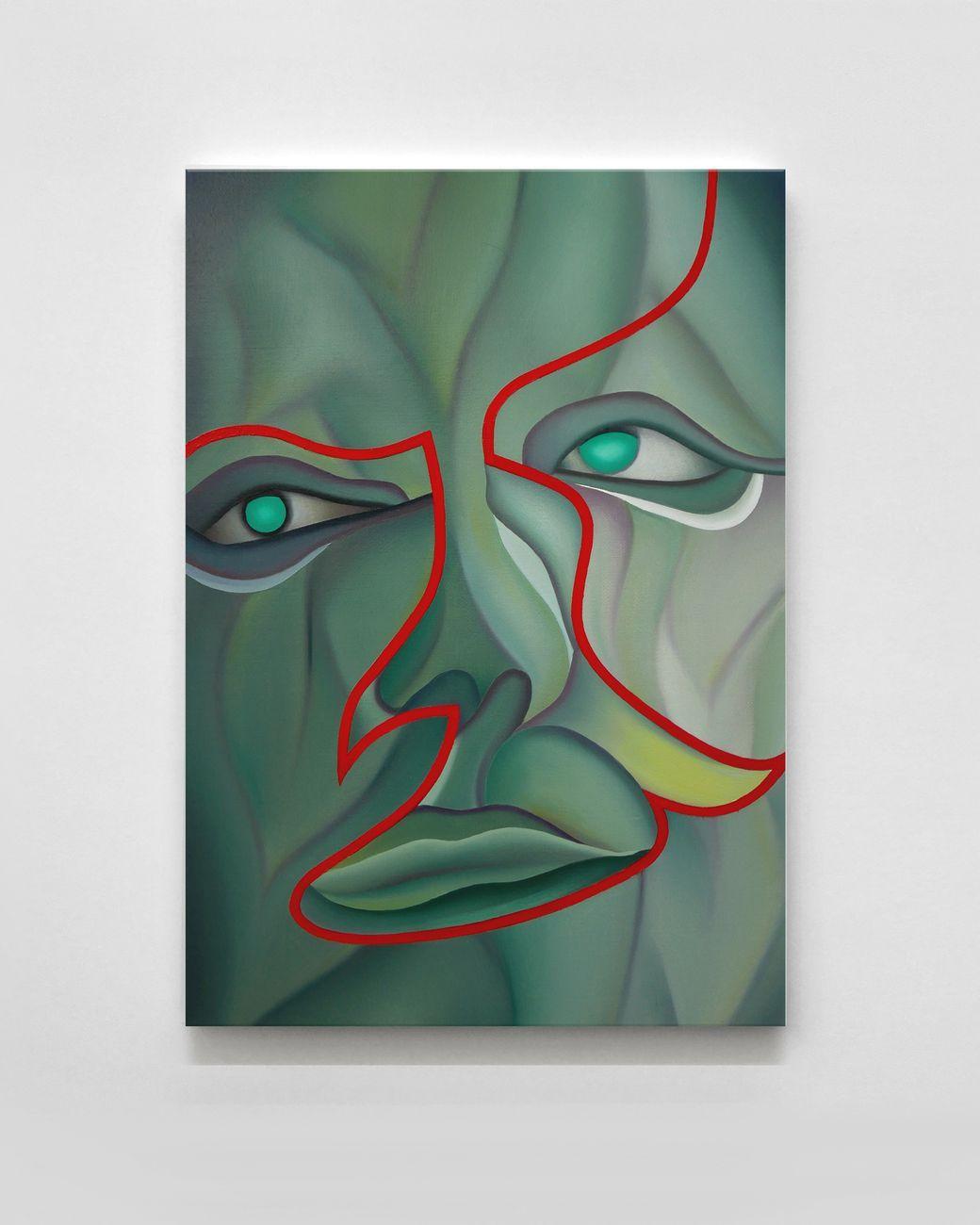 Stefano Perrone, Autoritratto come un carciofo, 2020, oil on panel, 50x35 cm