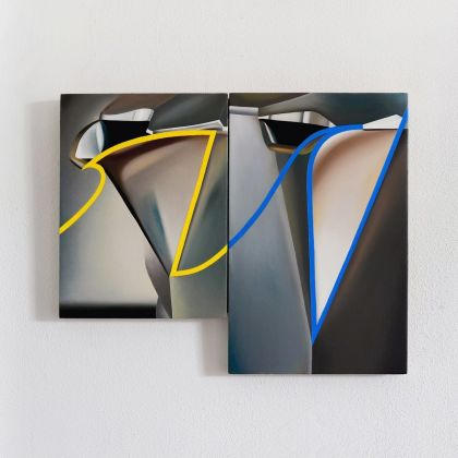 Stefano Perrone, Continuity between two snapshots of a Bialetti spout, 2020, oil on panels, 24x18 cm + 30x20 cm