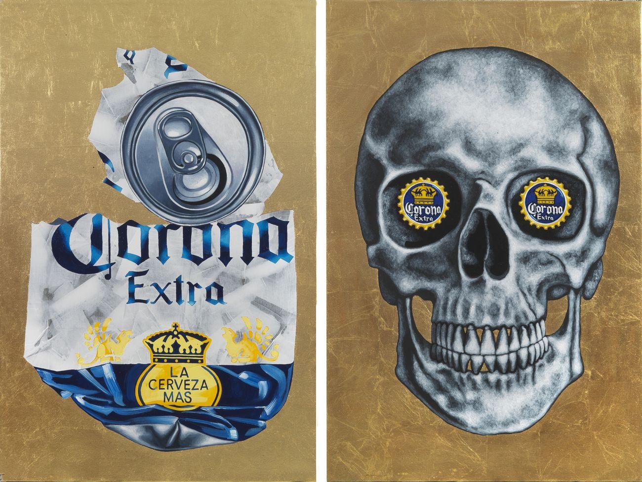 Tom Sanford, Corona Virus Skull diptych, 2020 acrilico e finta foglia d'oro su tela, 119.4 x 78 cm cadauno. Photo Arte Fotografica. Courtesy Mucciaccia Contemporary, Roma