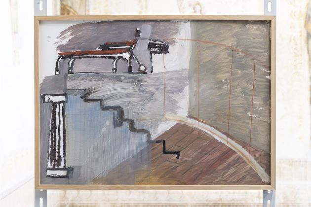 Tomaso De Luca, Plan 1, 2020, ink, gouache, crayon on paper, 50 x 70 cm. Installation view of We Don't Like Your House Either!, 2020 at Monitor, Pereto. Photo Giorgio Benni, courtesy the artist and Monitor, Rome / Lisbon / Pereto