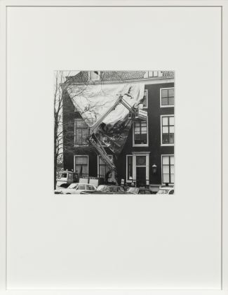 Ulay, The Metamorphosis of a Canal House, 1972, Series of 6 unique Gelatine Silver Prints, documentation of an environmental action: installation of a giant photo on photographic linen, showing a petrochemical refinery, 10 x 12 m 58 x 45 cm (framed), 20 x 23 cm. Courtesy ULAY Foundation
