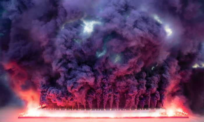 Judy Chicago Purple Poem for Miami triptych © Judy Chicago/Artists Rights Society (ARS), New York Photo © Donald Woodman/ARS, New York Courtesy of the artist; Salon 94, New York; and Jessica Silverman Gallery, San Francisco