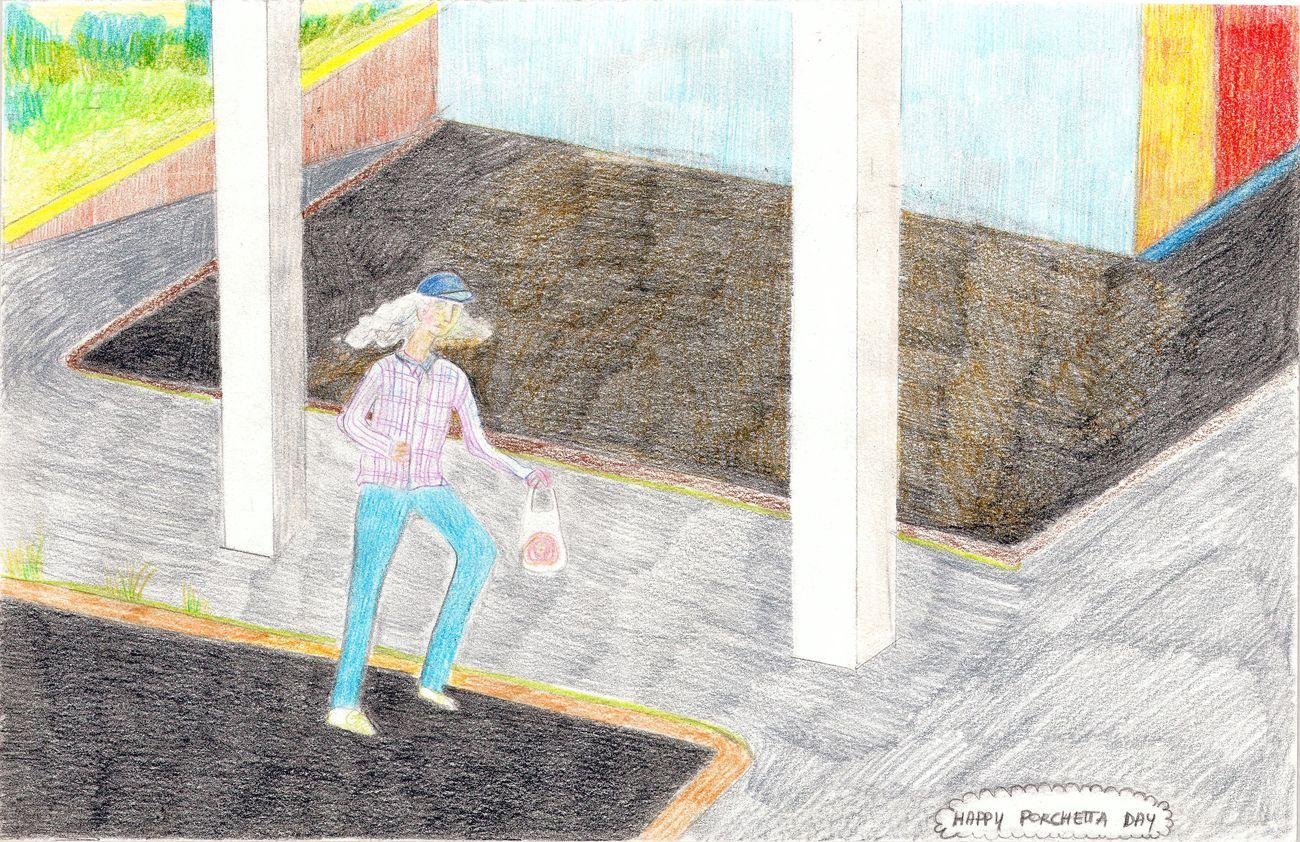 Alessandra Giacinti, Happy Porchetta Day, 2015, colouring pencil on paper, 22,5x35 cm