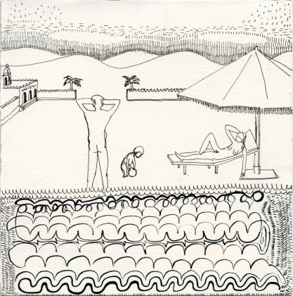Alessandra Giacinti, Private swimming pool with view, 2019, felt tip pen on paper, 17.5 x 17.4 cm