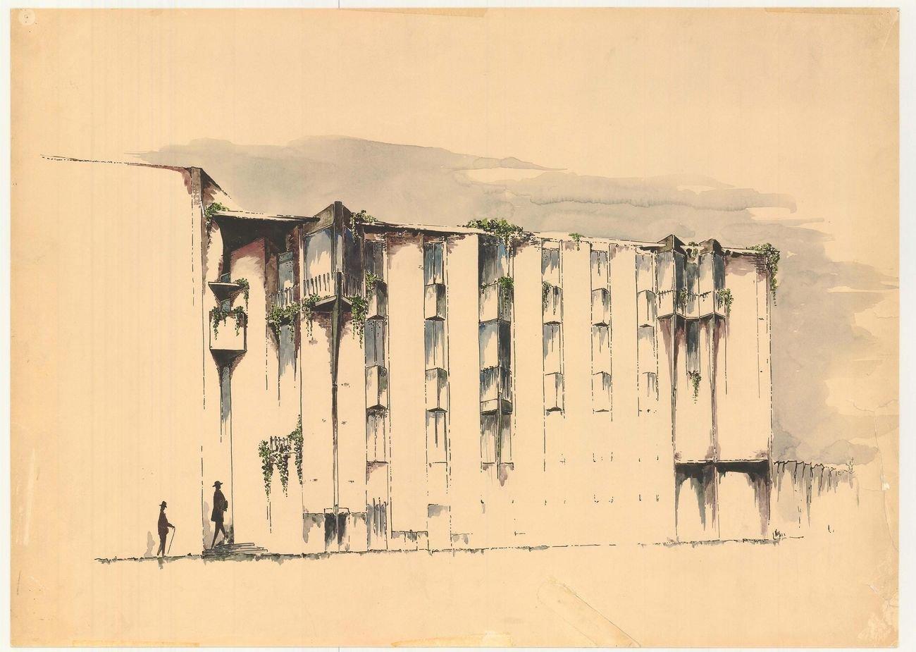 Bottega d'Erasmo, Torino, 1953 56. Roberto Gabetti e Aimaro Isola (disegno Archivio Gabetti e Isola)