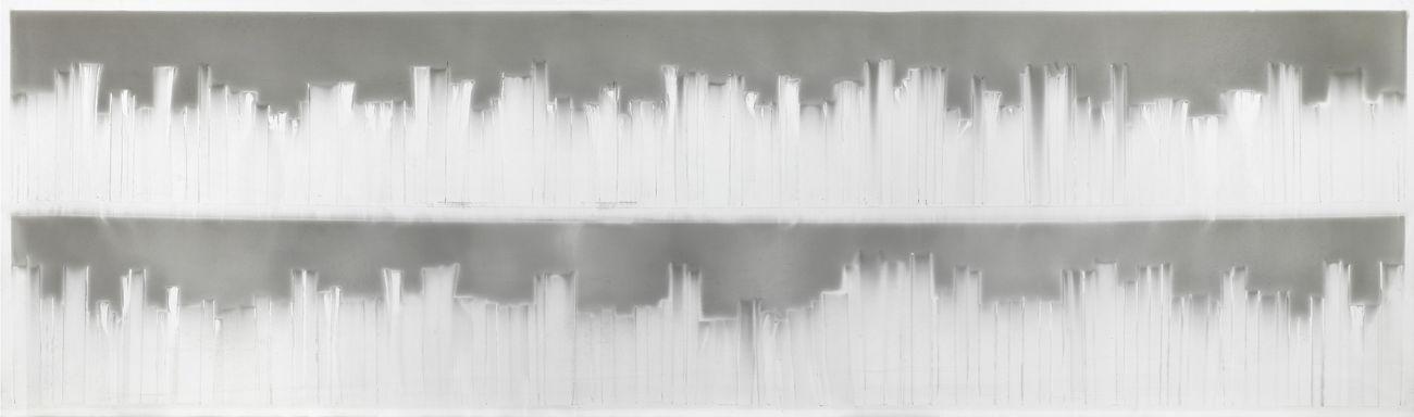 Claudio Parmiggiani, Senza titolo, 2020, smoke and soot on panel, cm 90x300