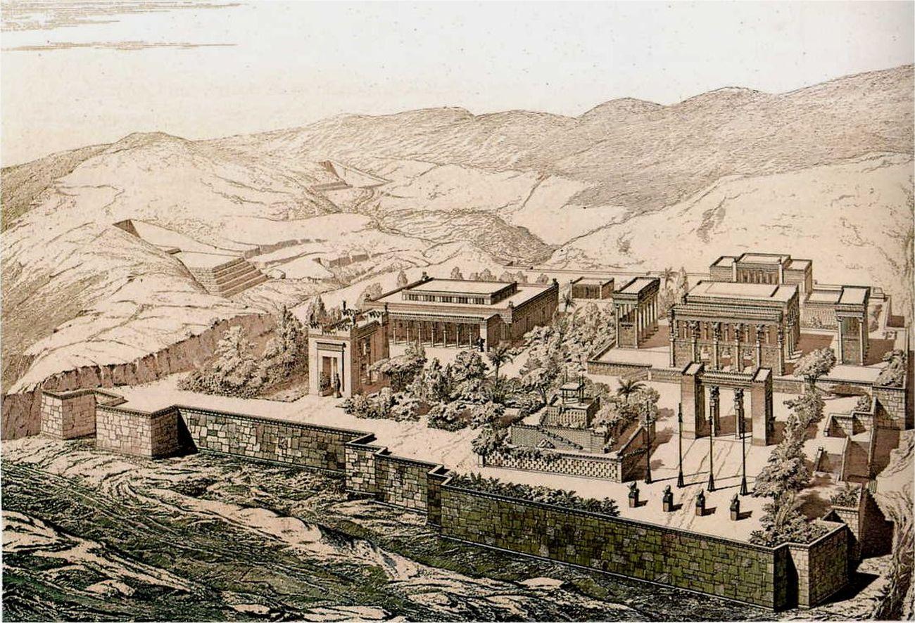 Fig. 1 – Charles Chipiez, Vista a volo d'uccello su Persepoli