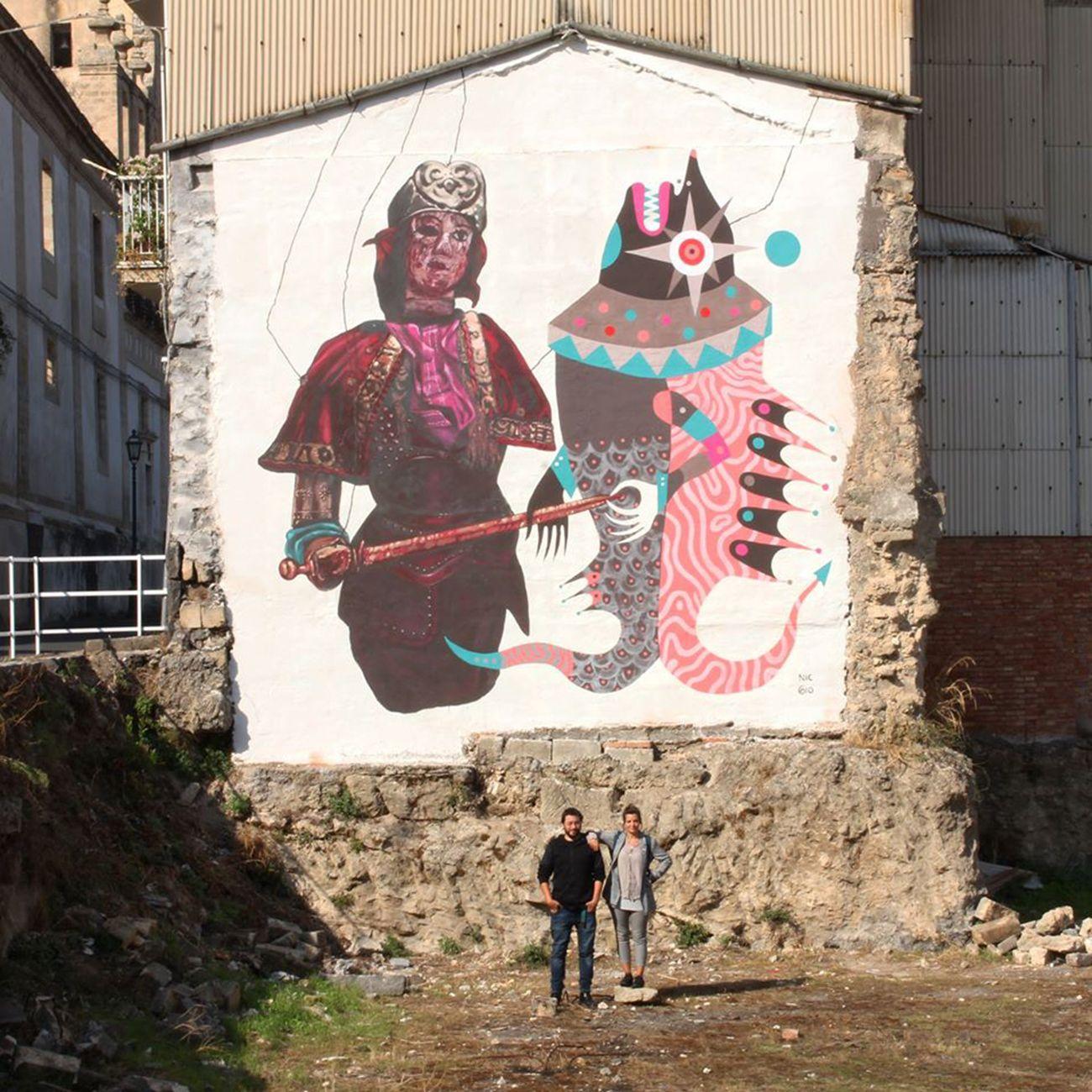 Gio Pistone e Nicola Alessandrini, Ruggero e l'Orca, via S.Francesco d'Assisi – quartiere Badia, Lentini 2017, photo Stefania Urrata