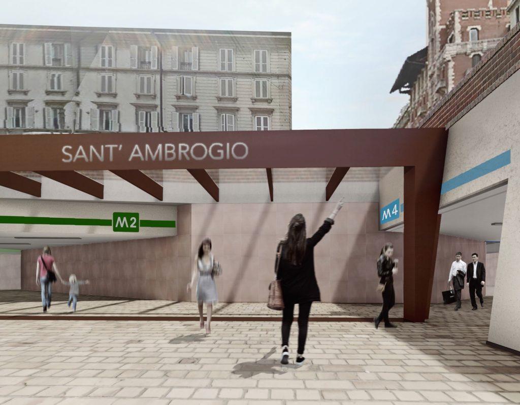 M4, rendering ingresso Stazione Sant'Ambrogio